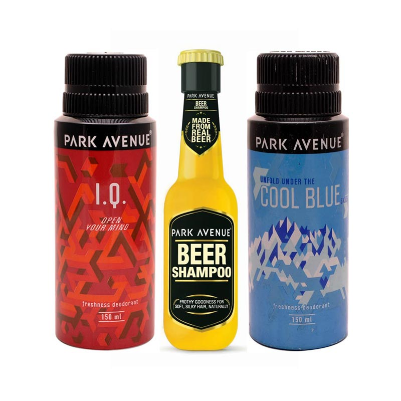 Park Avenue Beer Shampoo, Cool Blue, I.Q Deodorants Pack of 3 Products