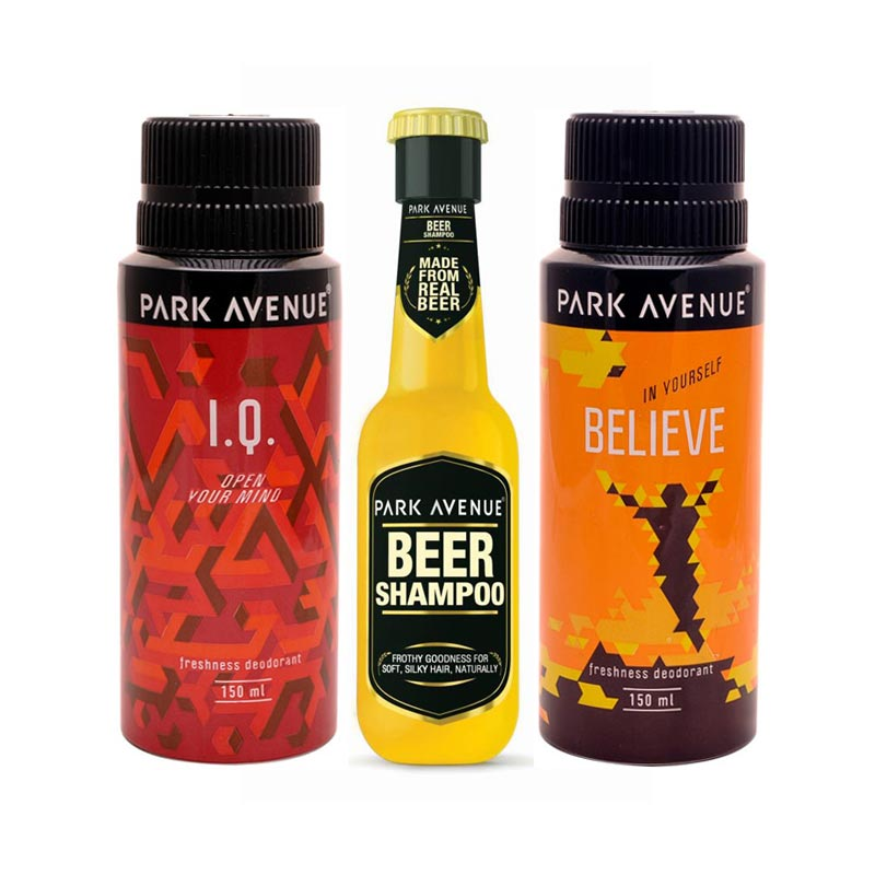Park Avenue Beer Shampoo, IQ, Believe Deodorants Pack of 3 Products