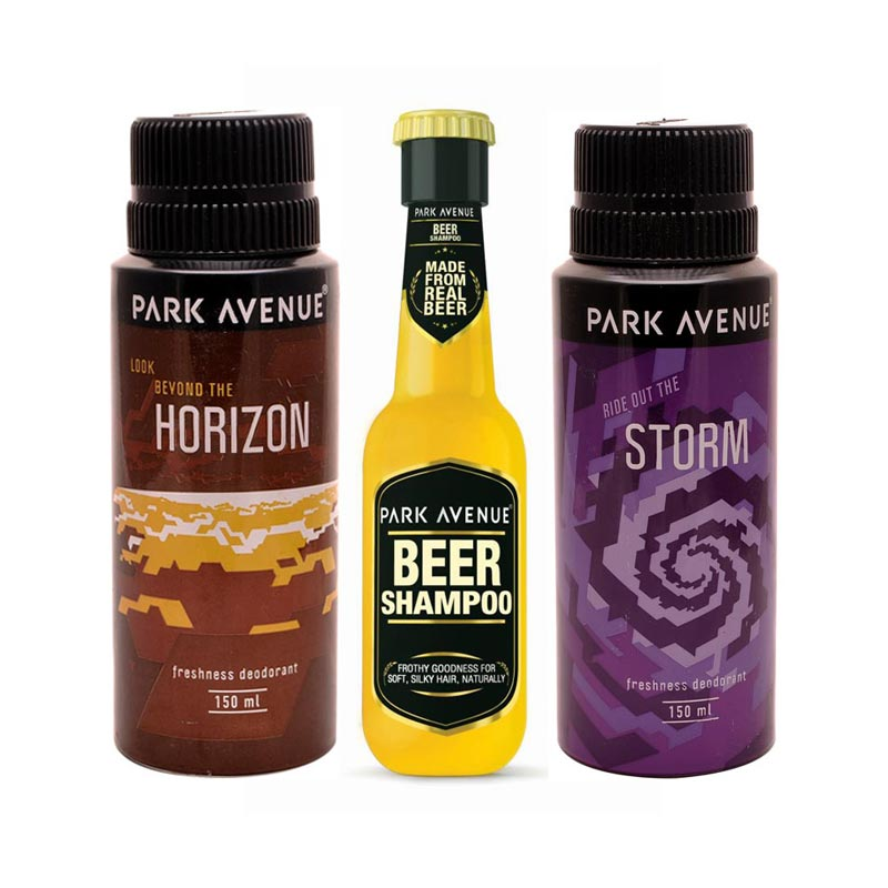 Park Avenue Beer Shampoo, Storm, Horizon Deodorants Pack of 3 Products