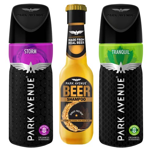 Park Avenue Beer Shampoo, Tranquil, Storm Deodorants Pack of 3 Products