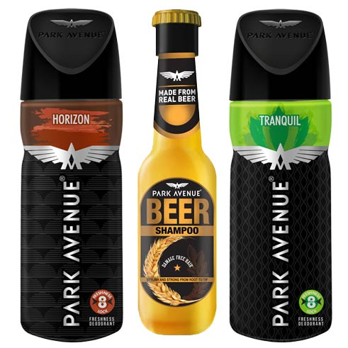 Park Avenue Beer Shampoo, Horizon, Tranquil Deodorants Pack of 3 Products