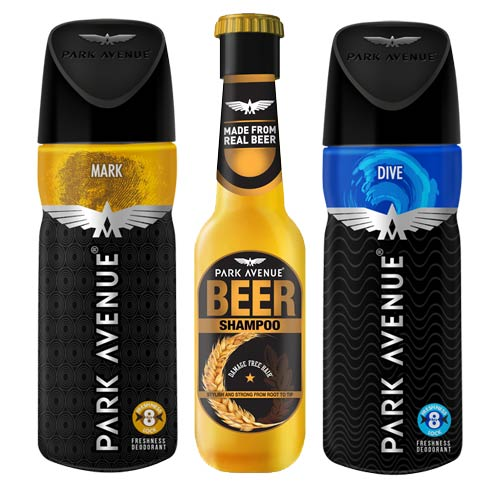 Park Avenue Beer Shampoo, Dive, Mark Deodorants Pack of 3 Products