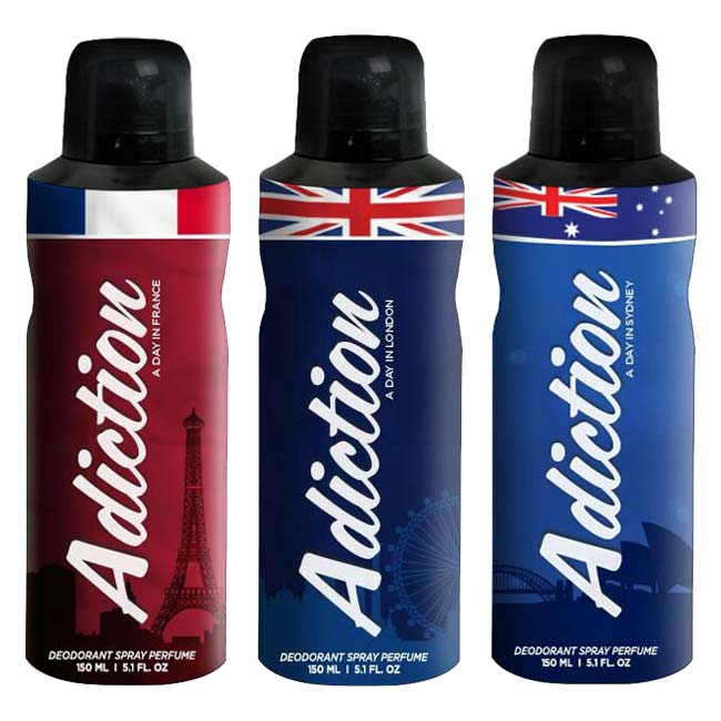 Adiction A Day In France, London And Sydney Pack of 3 Deodorants