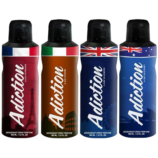Adiction A Day In France, Rome, London And Sydney Pack of 4 Deodorants