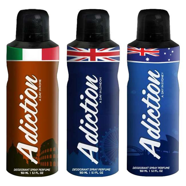 Adiction A Day In Rome, London And Sydney Pack of 3 Deodorants