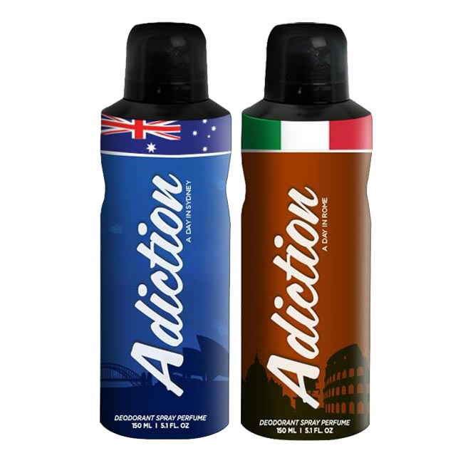 Adiction A Day In Sydney, Rome Pack of 2 Deodorants
