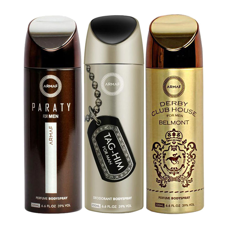 Armaf Paraty, Tag Him, Derby Club House Belmont Pack of 3 Deodorants