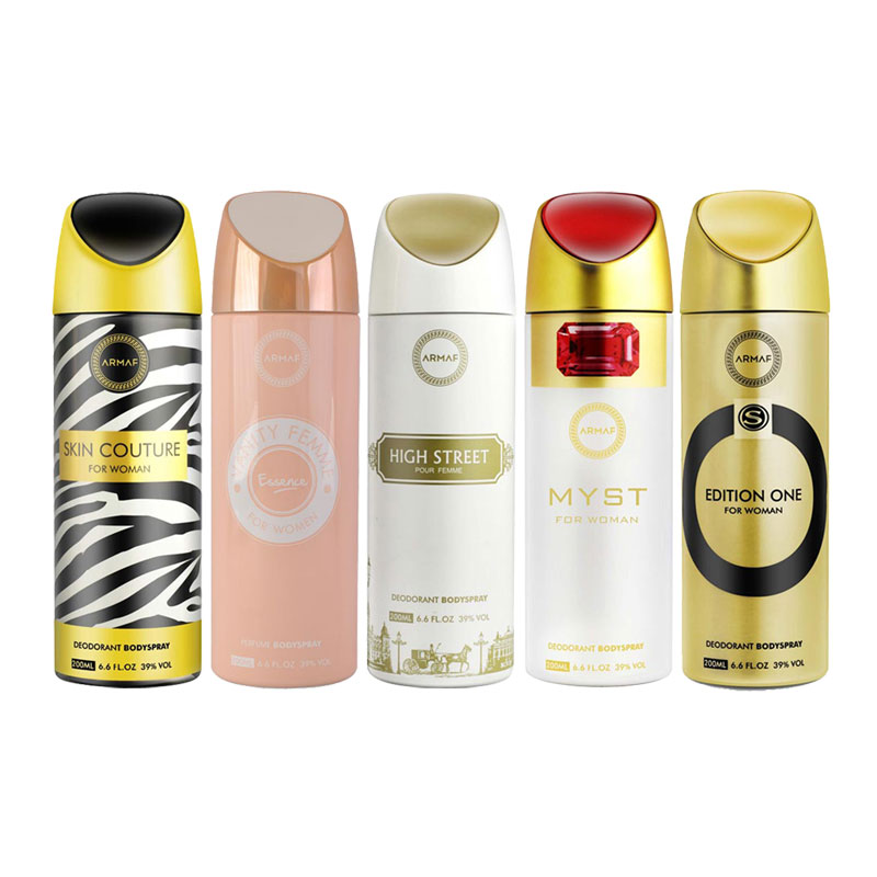 Armaf Skin Couture, Vanity Femme Essence, High Street, Myst, Edition One Pack of 5 Deodorants
