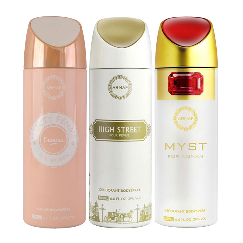 Armaf Vanity Femme Essence, High Street, Myst Pack of 3 Deodorants