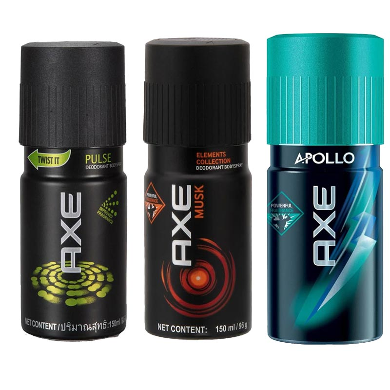 Axe Pulse, Musk, Apollo Pack of 3 Deodorants
