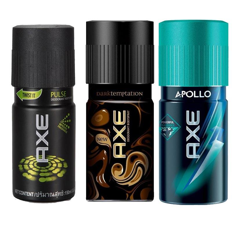 Axe Pulse, Dark Temptation, Apollo Pack of 3 Deodorants