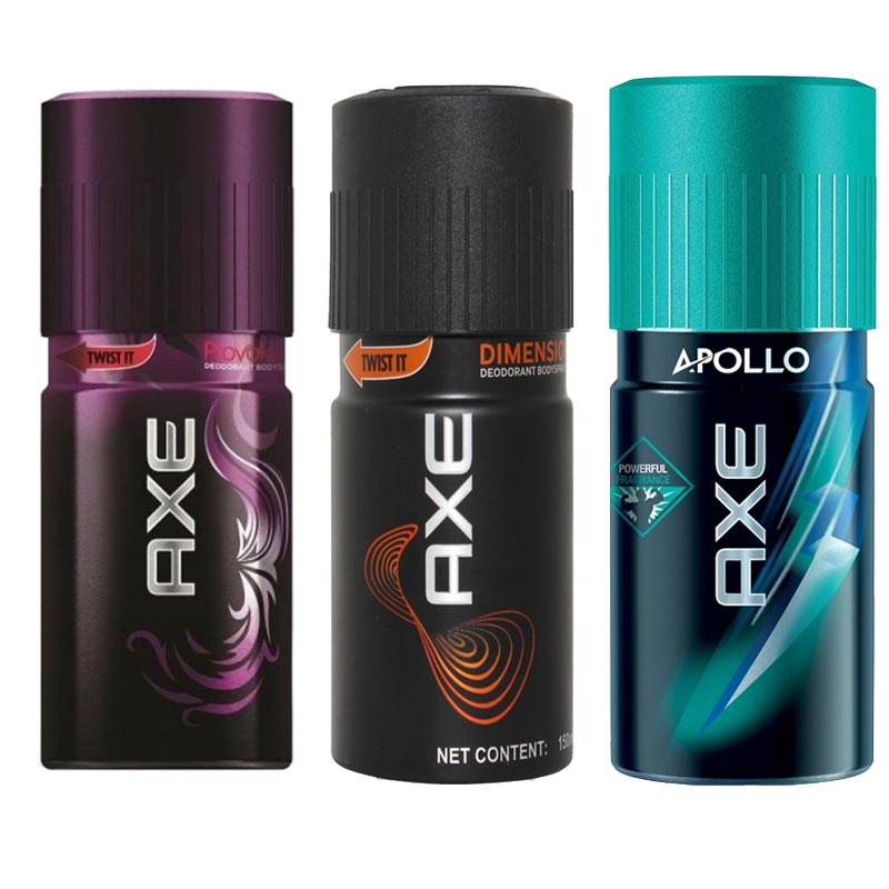 Axe Provoke, Dimension, Apollo Pack of 3 Deodorants