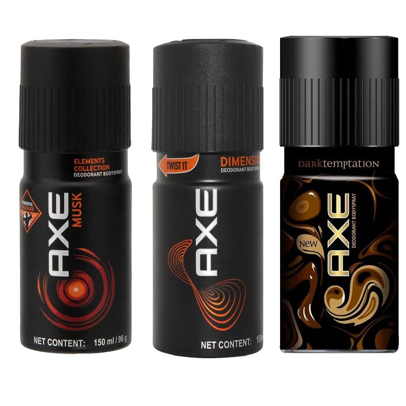Axe Musk, Dimension, Dark Temptation Pack of 3 Deodorants