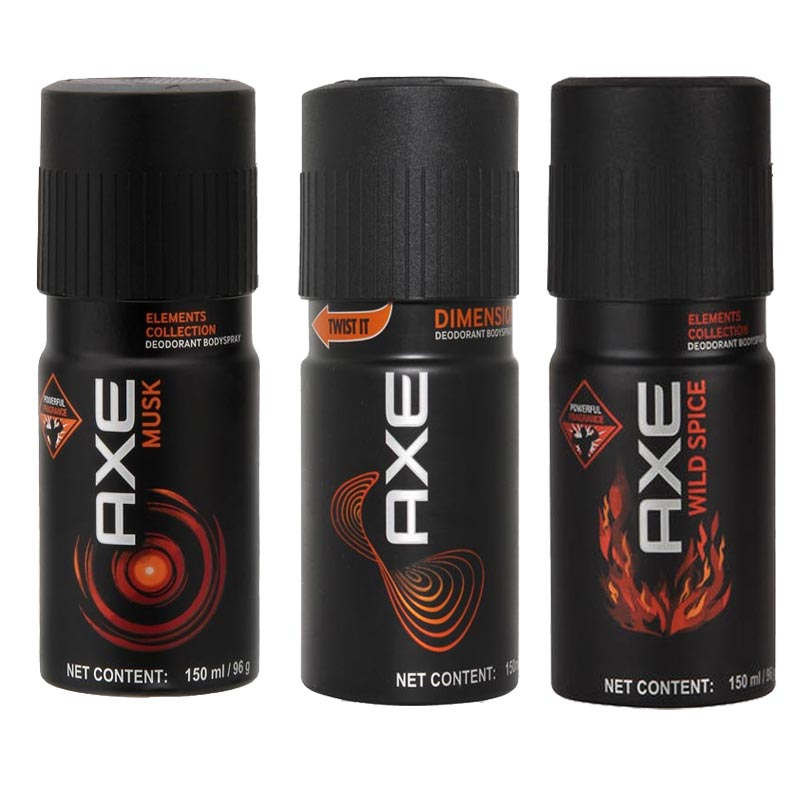 Axe Musk, Dimension, Wild Spice Pack of 3 Deodorants