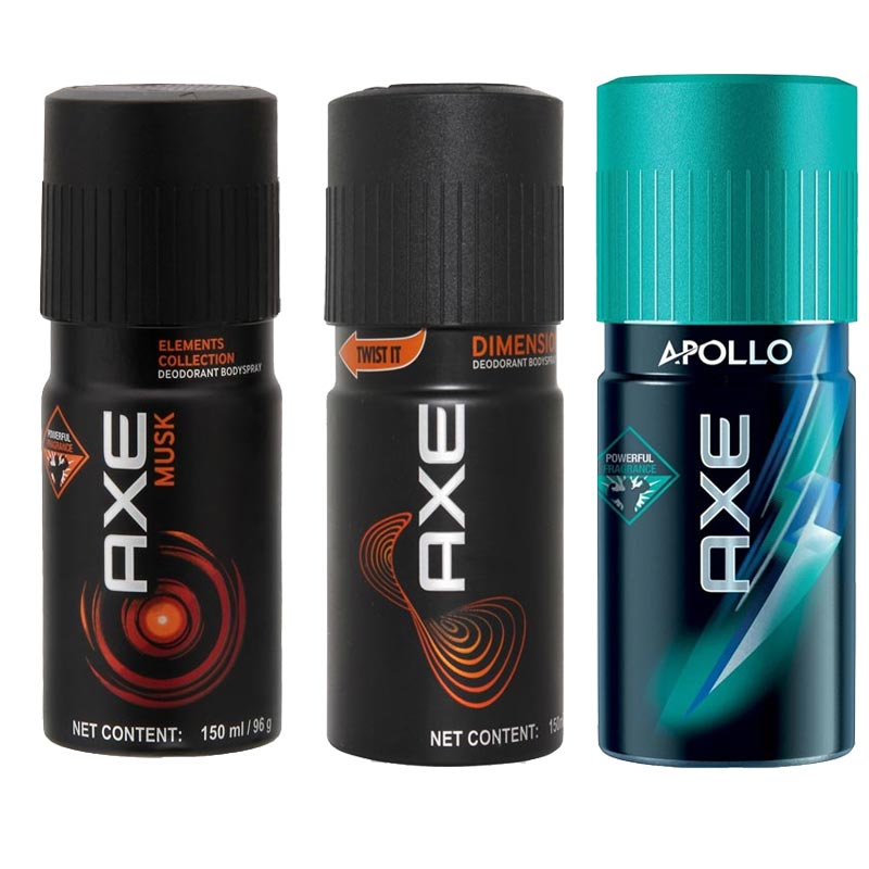 Axe Musk, Dimension, Apollo Pack of 3 Deodorants