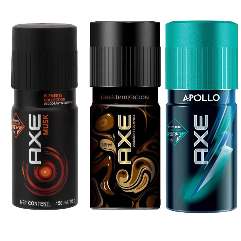 Axe Musk, Dark Temptation, Apollo Pack of 3 Deodorants
