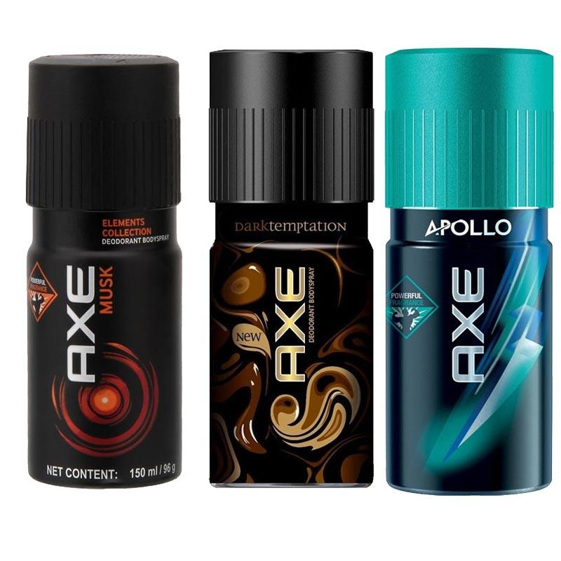 Axe Musk, Dark Temptation, Apollo Pack of 3 Deodorants