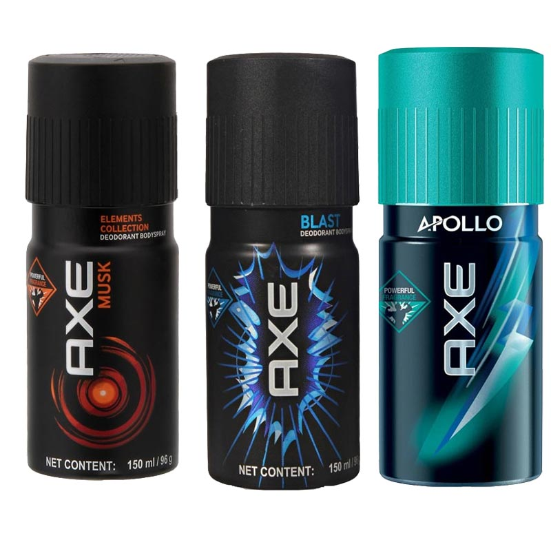 Axe Musk, Blast, Apollo Pack of 3 Deodorants