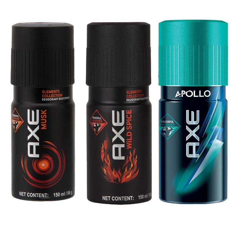 Axe Musk, Wild Spice, Apollo Pack of 3 Deodorants