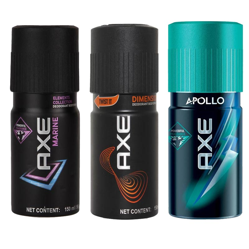 Axe Marine, Dimension, Apollo Pack of 3 Deodorants