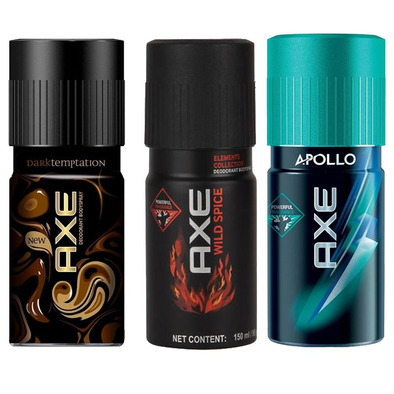 Axe Dark Temptation, Wild Spice, Apollo Pack of 3 Deodorants
