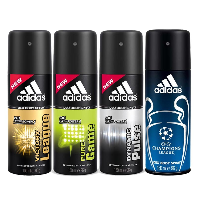 Adidas Victory League Pure Game Dynamic Pulse Champions League Pack Of 4 Deodorants