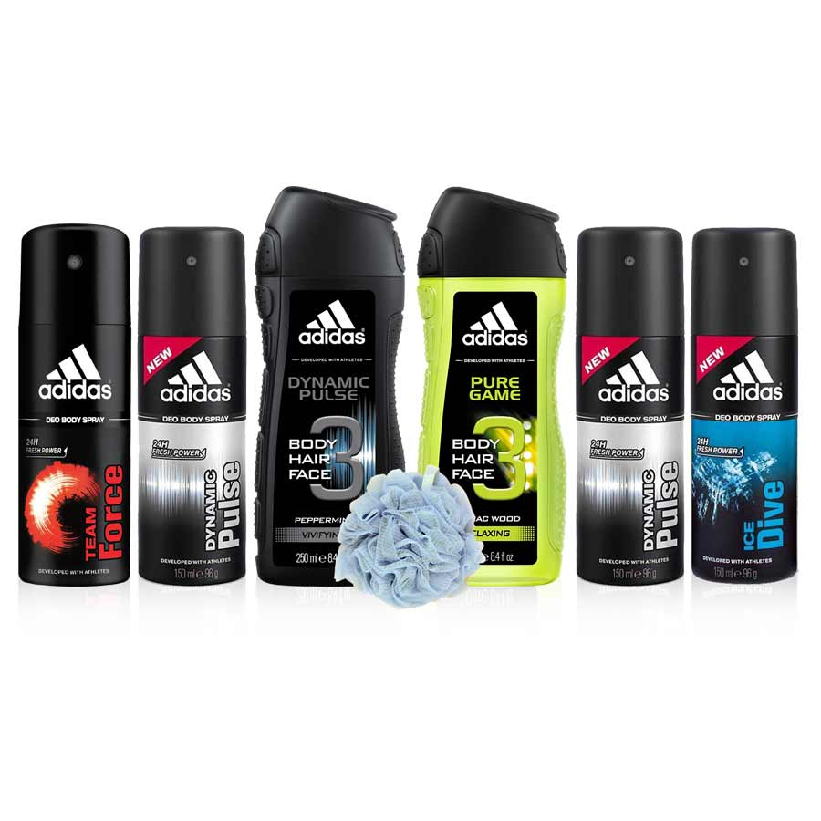 Adidas Value Pack Of 4 Deodorants, 2 Shower Gels And Loofah