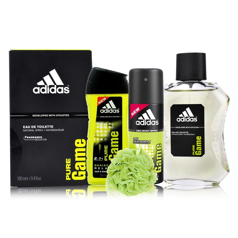 Adidas Pure Game Perfume, Deodorant, Shower Gel And Loofah Combo Set