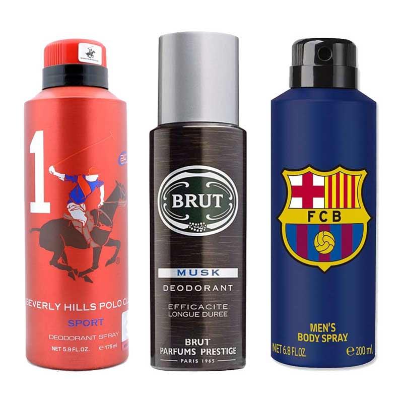 DeoBazaar Value Pack Of 3 Deodorant Sprays - BHPC Sport No 1, Brut Musk And Football Club Barcelona Original