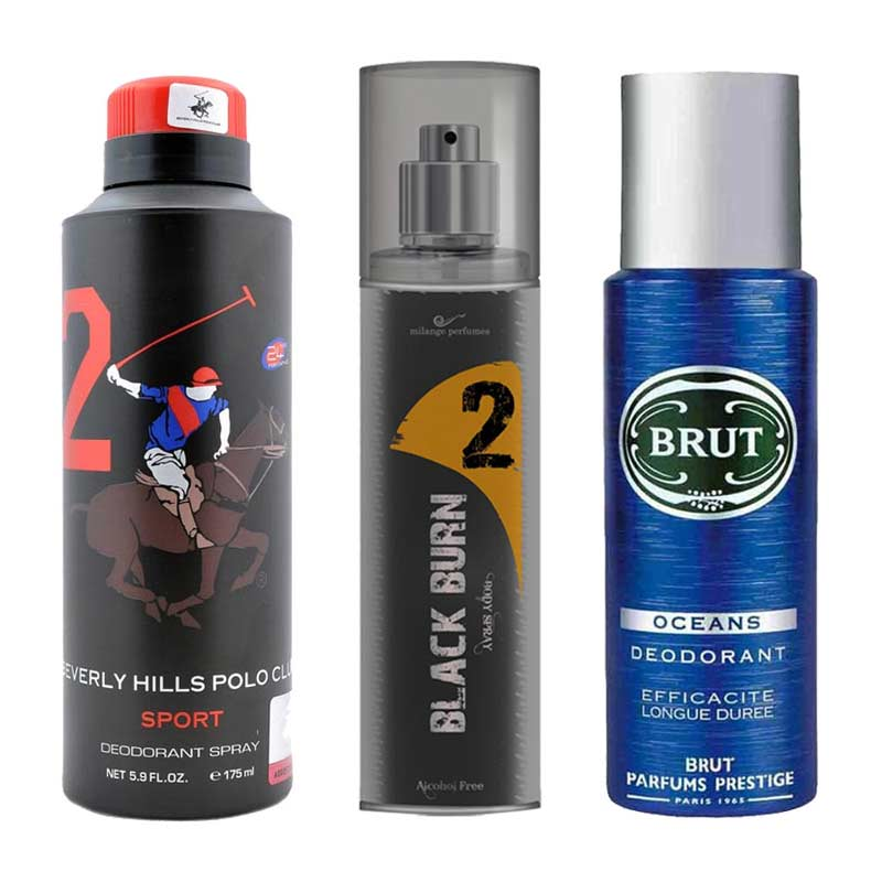 DeoBazaar Value Pack Of 3 Deodorant Sprays - BHPC Sport No 2, Black Burn No 2 And Brut Oceans