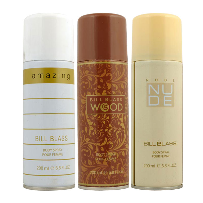 Bill Blass Amazing, Wood, Nude Pack of 3 Deodorants
