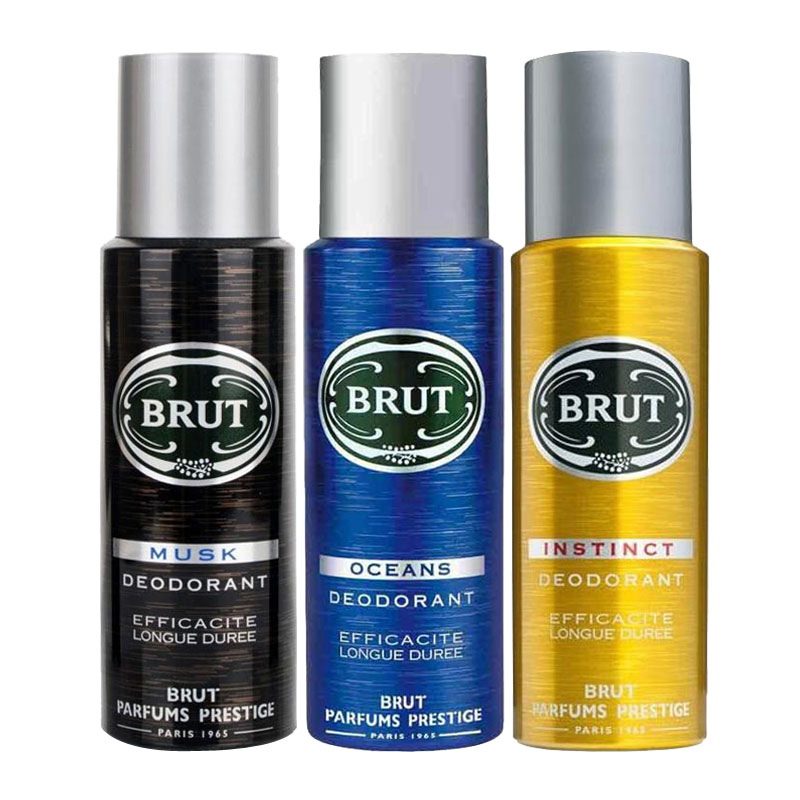 Brut Musk, Oceans, Instinct Pack of 3 Deodorants