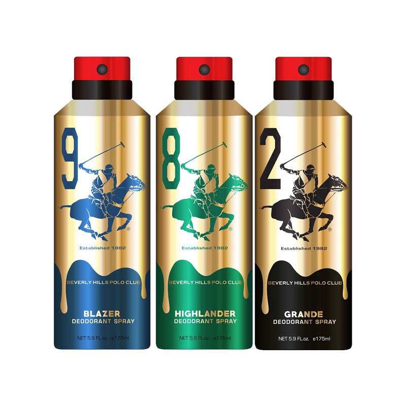 Beverly Hills Polo Club Gold Edition Blazer, Highlander And Grande Pack of 3 Deodorants