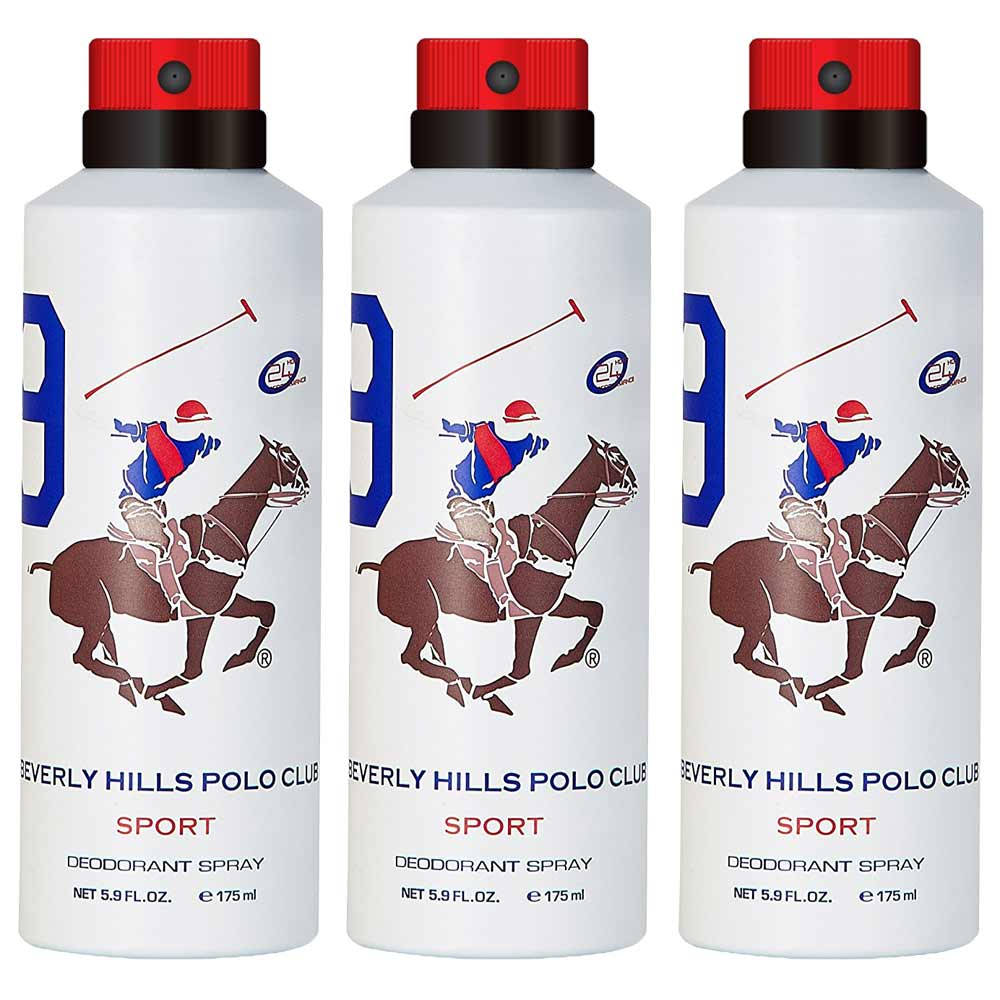 Beverly Hills Polo Club Sport No 9 Pack Of 3 Deodorants