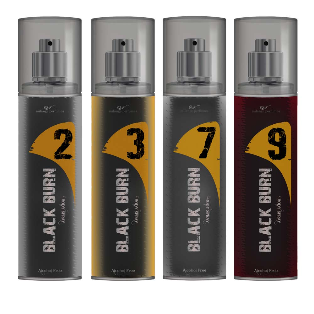 Black Burn 2,3,7,9 Set of 4 Alcohol Free Deodorants
