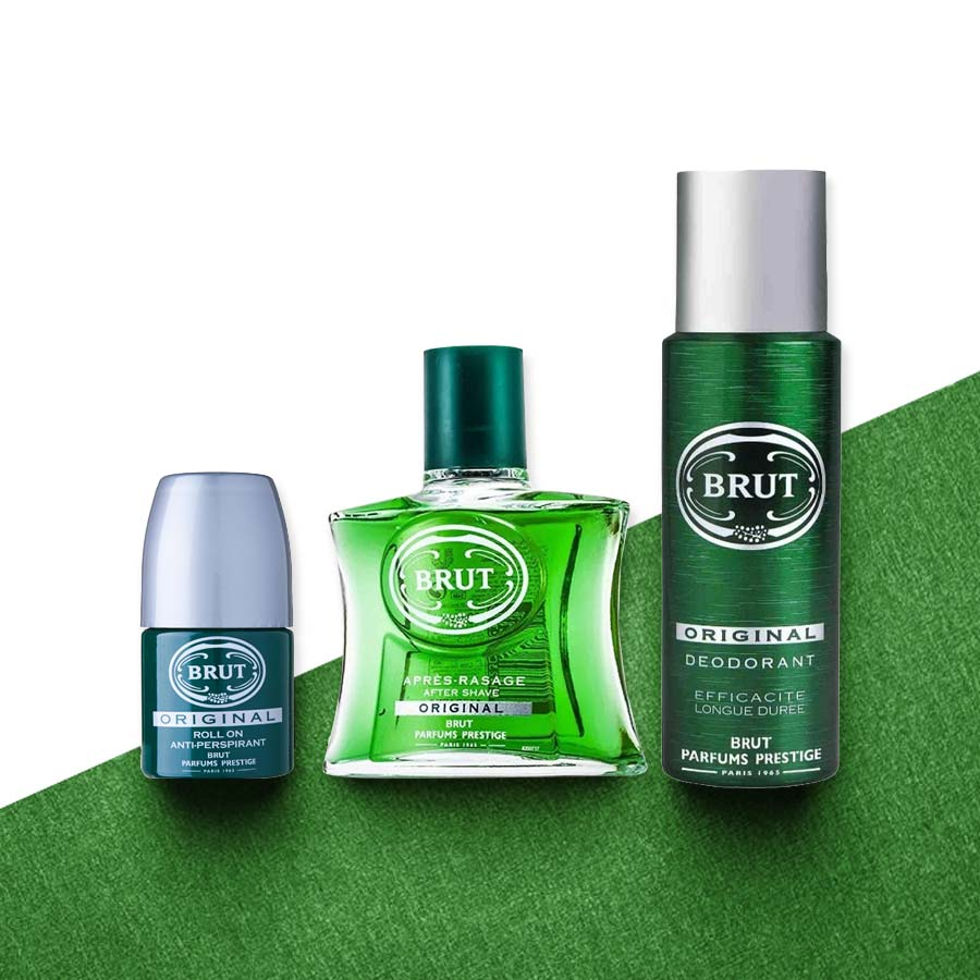 Brut Original Aftershave Deodorant And Roll On 3 Piece Combo Gift Set