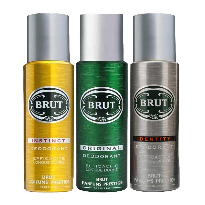 Brut Original, Instinct And Identity Pack Of 3 Deodorants For Men