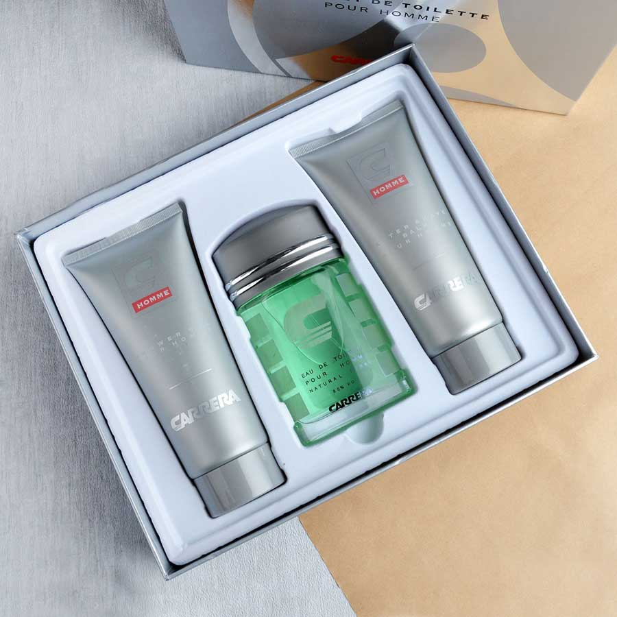 Carrera Pour Homme 3 Piece Gift Set - Perfume, Aftershave Balm And Shower Gel