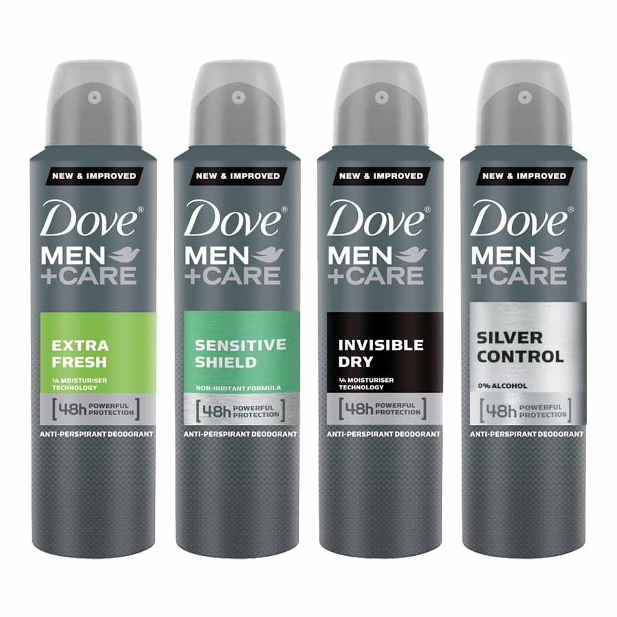 Dove Extra Fresh, Sensitive Shield, Invisible Dry And Silver Control Pack Of 4 Deodorants