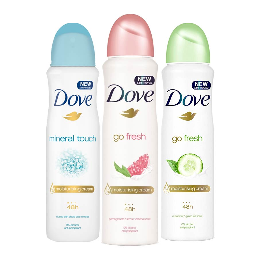 Dove Mineral Touch, Go Fresh Pomegranate, Go Fresh Cucumber Pack of 3 Deodorant Sprays