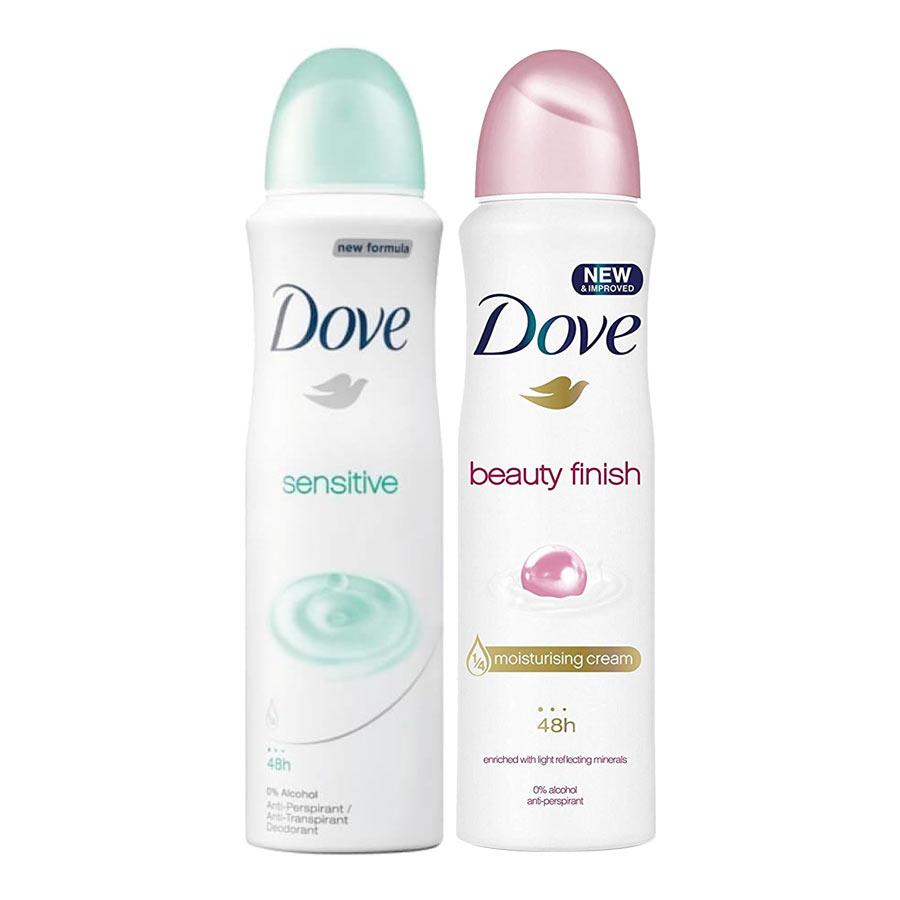 Dove Beauty Finish Spray: Dove Sensitive, Beauty Finish Pack Of 2 Deodorant Sprays