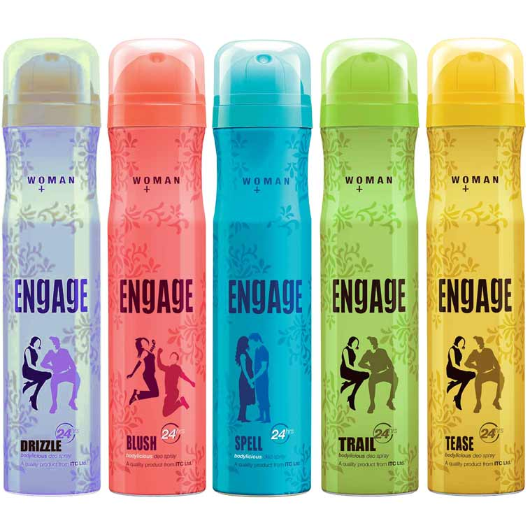 Engage Spell, Blush, Trail, Tease, Drizzle Pack of 5 Deodorants