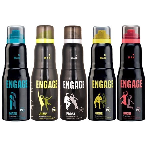 Engage Urge, Mate, Rush, Jump, Frost Pack of 5 Deodorants