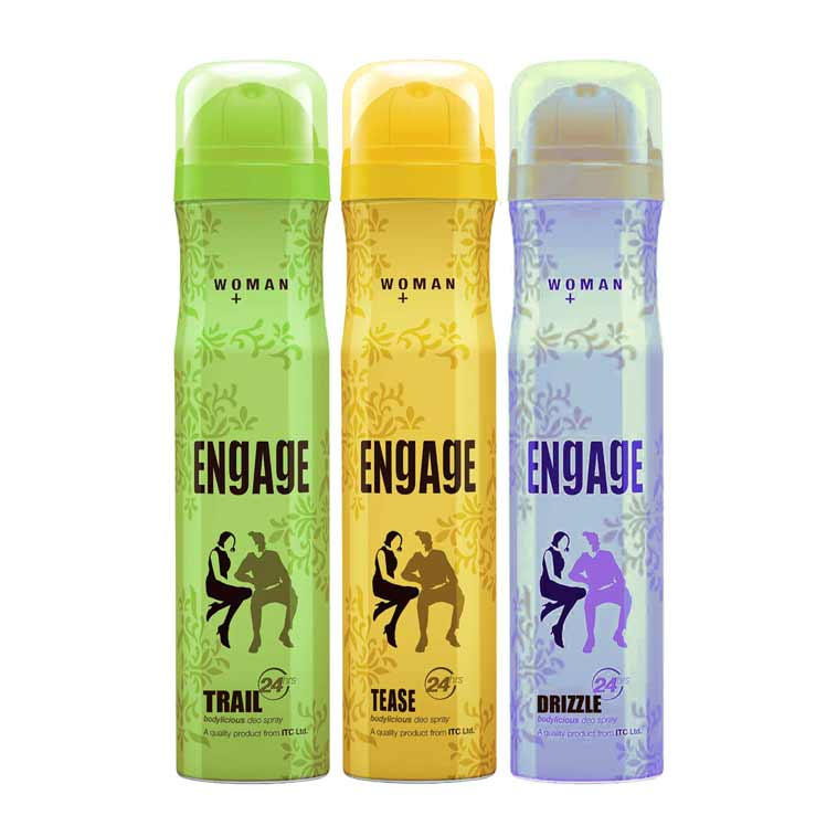 Engage Trail, Tease, Drizzle Pack of 3 Deodorants