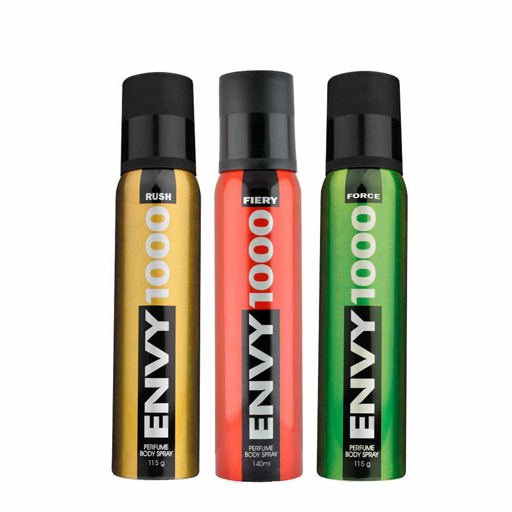 Envy 1000 Rush, Fiery, Force Pack of 3 Deodorants