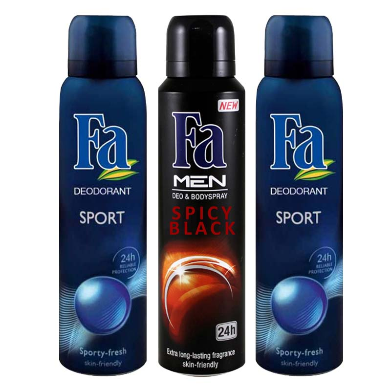 FA 2 Sport And 1 Spicy Black Pack Of 3 Refreshing Deodorants
