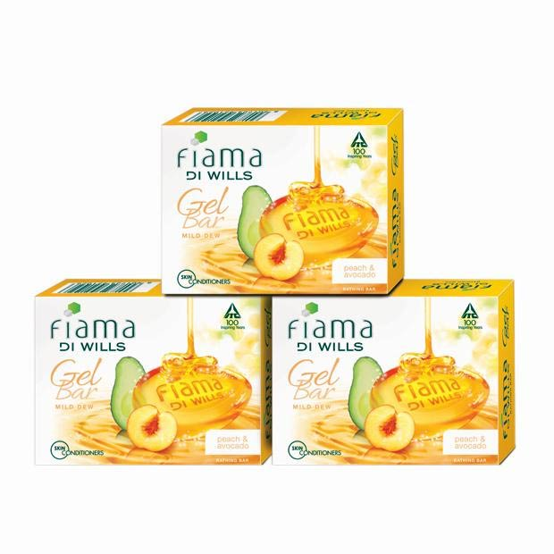 Fiama Di Wills Mild Dew Peach and Avocado Pack of 3 Gel Bathing Soaps