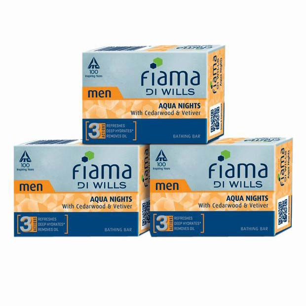 Fiama Di Wills Aqua Nights Pack Of 3 Bathing Soap