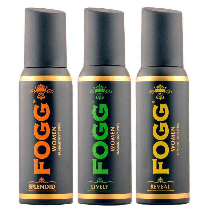 Fogg Black Collection Lively, Reveal, Splendid Pack of 3 Deodorants