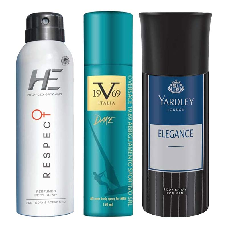 DeoBazaar Value Pack Of 3 Deodorant Sprays - He Respect, Versace 1969 Dare And Yardley London Elegance